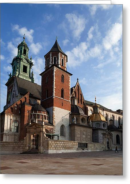 Krakow Greeting Cards - Ther Wawel Cathedral Tower And The Greeting Card by Panoramic Images