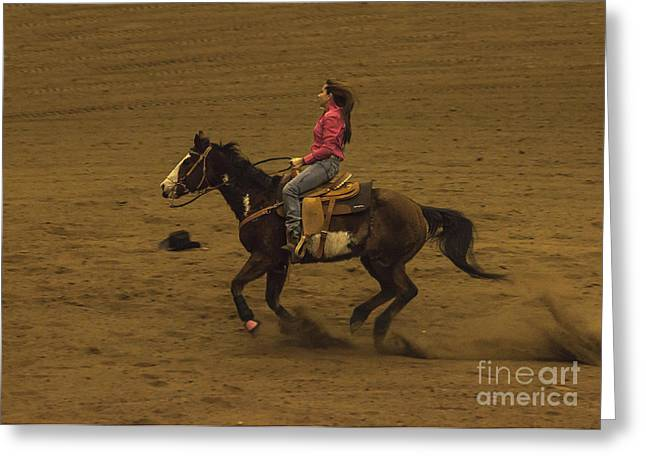 Wild Racers Greeting Cards - There Goes My Hat Rodeo Greeting Card by Janice Rae Pariza