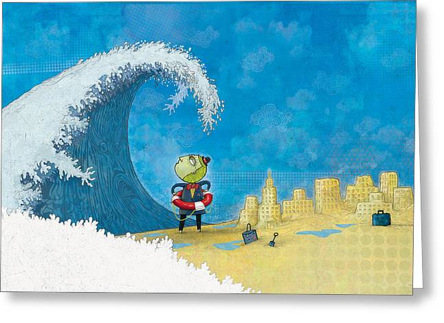 Waves Greeting Cards - There goes my sand castles Greeting Card by Dennis Wunsch