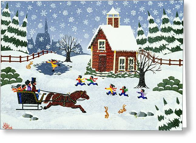 Ice-skating Greeting Cards - There Goes the Neighborhood Greeting Card by Merry  Kohn Buvia