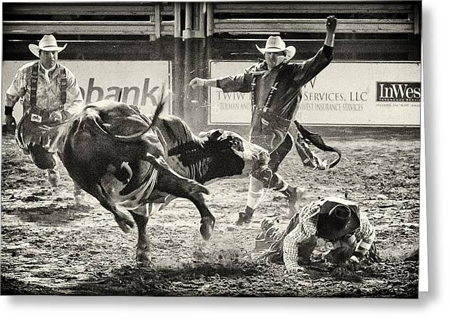 Bull Riding Greeting Cards - There Have to Be Clowns Greeting Card by Caitlyn  Grasso