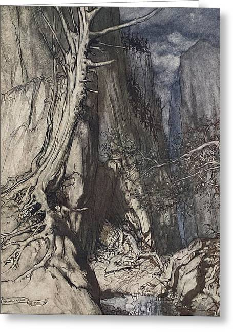 Cavern Drawings Greeting Cards - There Is A Dread Dragon He Sojourns Greeting Card by Arthur Rackham