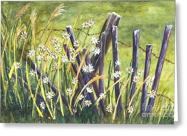 Old Fence Posts Drawings Greeting Cards - A Daisy A Day Greeting Card by Carol Wisniewski