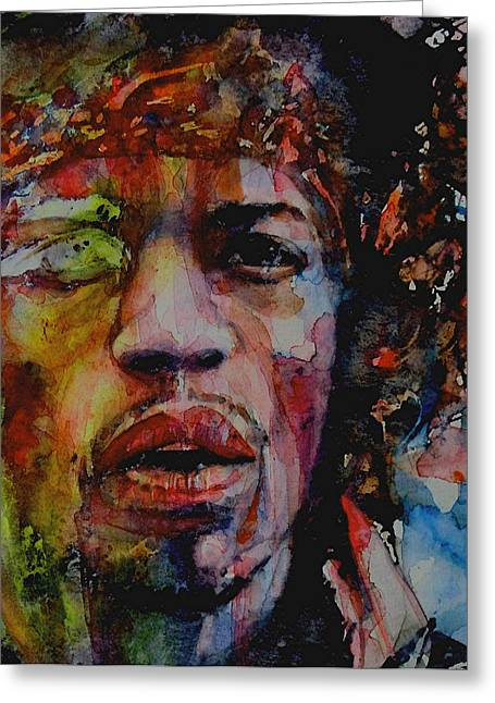 Jimi Hendrix Paintings Greeting Cards - There Must Be Some Kind Of Way Out Of Here Greeting Card by Paul Lovering