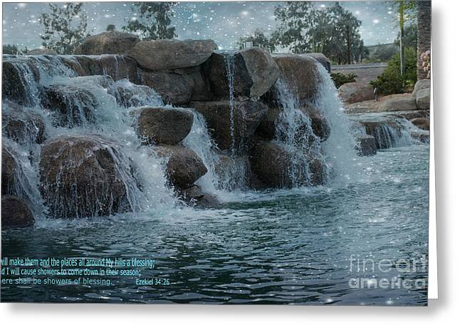Ezekiel Greeting Cards - There shall be Showers of Blessing Greeting Card by Beverly Guilliams