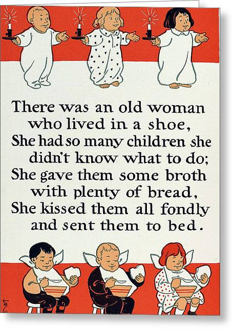 There Was An Old Women Who Lived In A Shoe Greeting Cards - There was an old women who lived in a shoe Greeting Card by Mother Goose