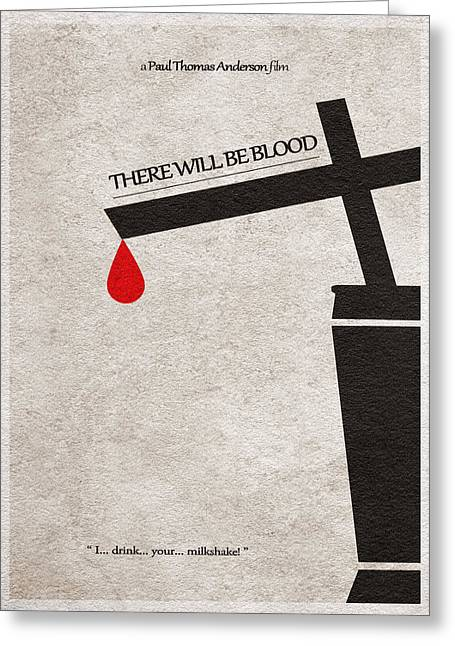 Retro Typography Greeting Cards - There Will Be Blood Greeting Card by Ayse Deniz