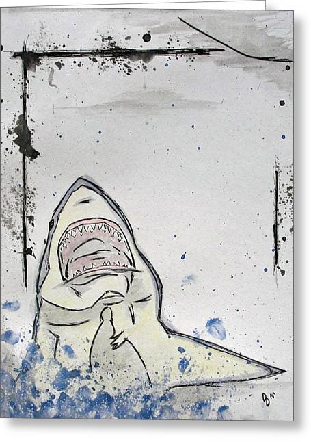 White Shark Mixed Media Greeting Cards - There will be blood Greeting Card by David  DeMarco