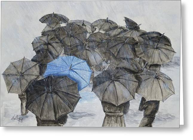 Raining Greeting Cards - Theres Always One in the Crowd .... Umbrella Greeting Card by Kelly Mills
