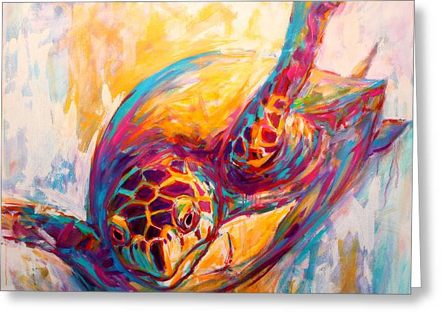Endangered Species Greeting Cards - Theres More than Just fish in the Sea - Sea Turtle Art Greeting Card by Savlen Art