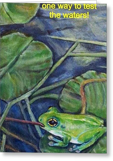 Nature Scene With Frog Greeting Cards - Theres More than One Way to Test the Waters Greeting Card by Kimberlee  Baxter