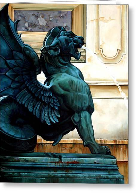 Winged Sculptures Greeting Cards - Therianthropic Beast Greeting Card by Kathleen English-Barrett