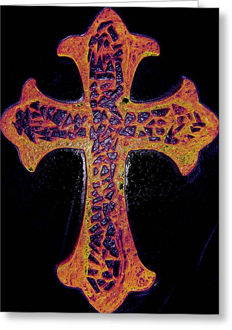 Glass Sculpture Glass Art Greeting Cards - Thermal Cracked Glass Cross Light 2 dark Greeting Card by Lisa Brandel