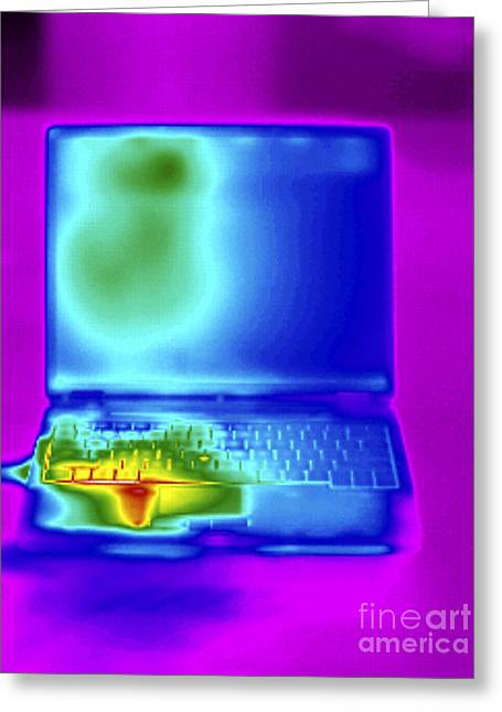 Processor Greeting Cards - Thermogram Of A Laptop Greeting Card by GIPhotoStock