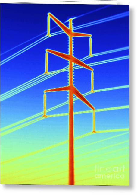 Electric Pylon Greeting Cards - Thermogram Of A Transmission Tower Greeting Card by GIPhotoStock