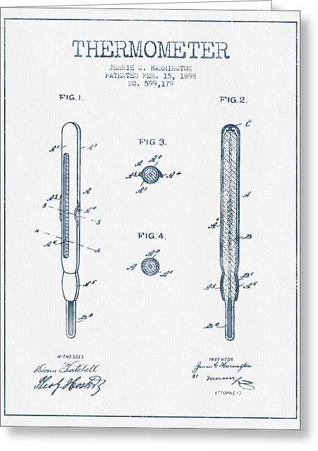 Measure Greeting Cards - Thermometer patent from 1898 - Blue Ink Greeting Card by Aged Pixel