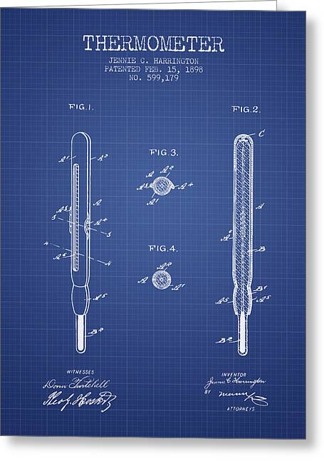Measure Greeting Cards - Thermometer patent from 1898 - Blueprint Greeting Card by Aged Pixel