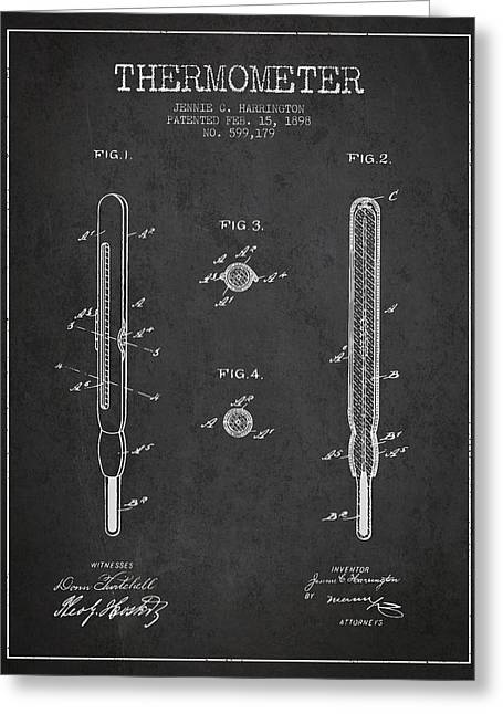 Temperature Greeting Cards - Thermometer patent from 1898 - Dark Greeting Card by Aged Pixel