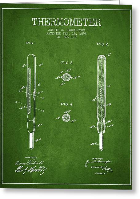 Measure Greeting Cards - Thermometer patent from 1898 - Green Greeting Card by Aged Pixel