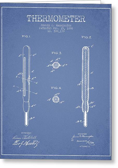 Medical Greeting Cards - Thermometer patent from 1898 - Light Blue Greeting Card by Aged Pixel