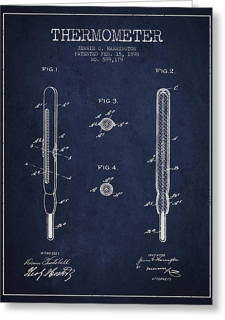 Measure Greeting Cards - Thermometer patent from 1898 - Navy Blue Greeting Card by Aged Pixel