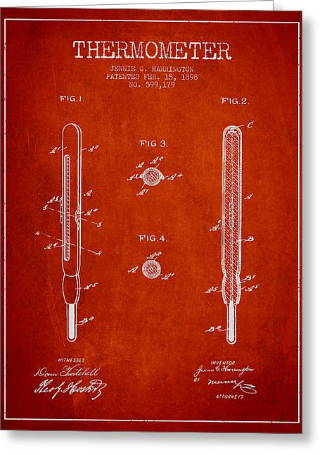 Measure Greeting Cards - Thermometer patent from 1898 - Red Greeting Card by Aged Pixel