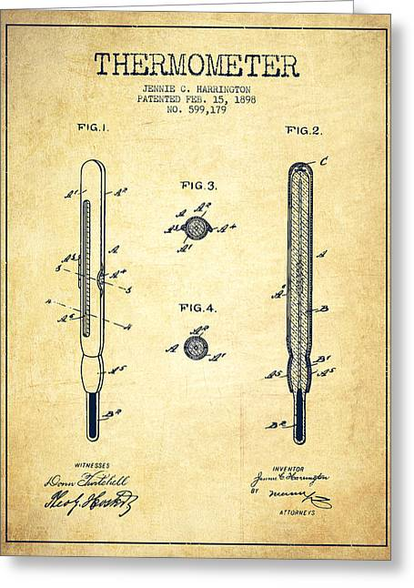 Measure Greeting Cards - Thermometer patent from 1898 - Vintage Greeting Card by Aged Pixel