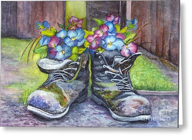 These Boots Were Made For Planting Greeting Card by Carol Wisniewski