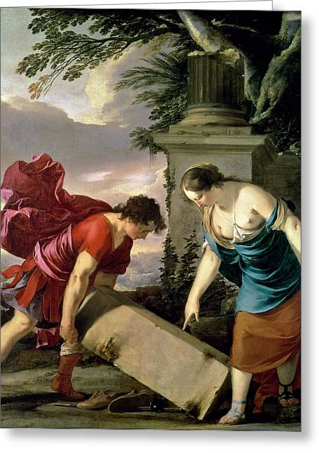 Strength Photographs Greeting Cards - Theseus And His Mother Aethra, C.1635-36 Oil On Canvas Greeting Card by Laurent de La Hire or La Hyre