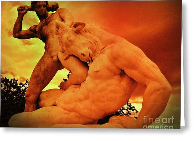 Greek Sculpture Greeting Cards - Theseus and the Minotaur Greeting Card by John Malone