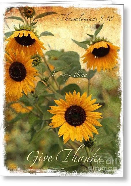 Catholic Art Greeting Cards - Give Thanks Greeting Card by Carol Groenen
