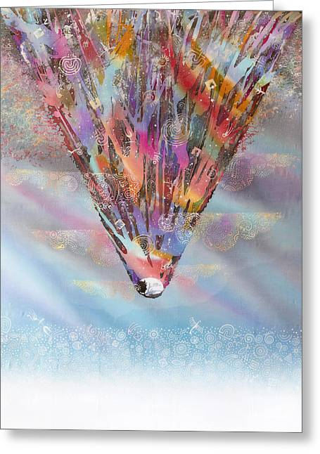 Emotions Tapestries - Textiles Greeting Cards - The Top of the Well Greeting Card by Kate Krivoshey