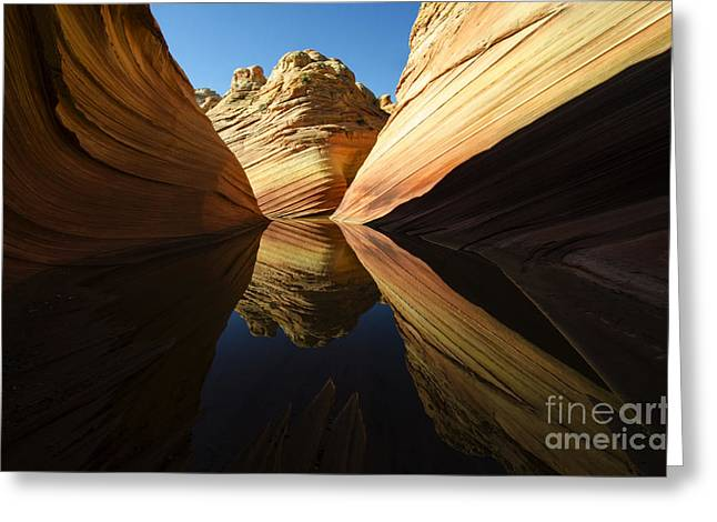 Greeting Cards - The Wave Reflected Beauty 1 Greeting Card by Bob Christopher