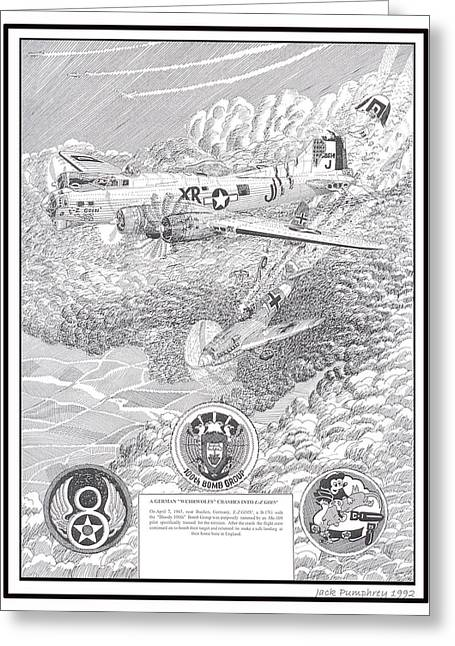 Ww Ii Drawings Greeting Cards - They all lived crash of Boeing B 17 and ME 109 Greeting Card by Jack Pumphrey