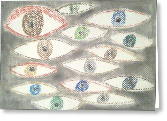 Creepy Pastels Greeting Cards - They Are Watching You Greeting Card by Judith Moore