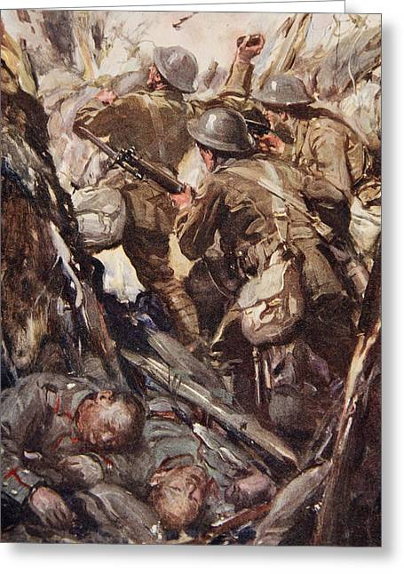 Trench Warfare Greeting Cards - They Bombed And Bayoneted Their Way Greeting Card by Cyrus Cuneo