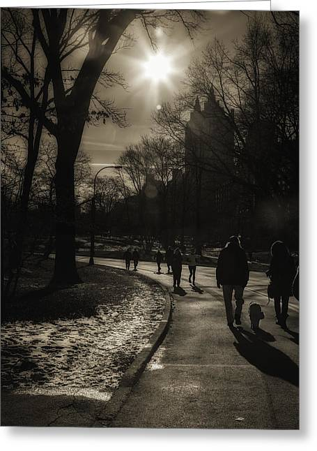 Jogging Greeting Cards - They Come to Central Park Greeting Card by Madeline Ellis