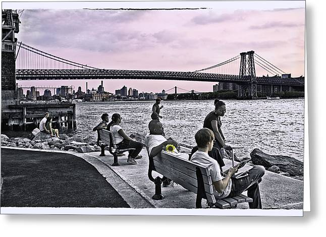 Gathering Greeting Cards - They Gathered At The Williamsburg Bridge - Brooklyn - New York Greeting Card by Madeline Ellis