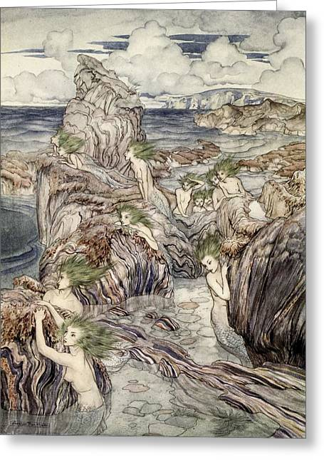 Greek Myths Greeting Cards - They Have Sea-green Hair, Illustration Greeting Card by Arthur Rackham