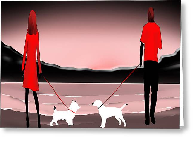 Scotty Dog Greeting Cards - They met at the  beach Greeting Card by Peter Stevenson