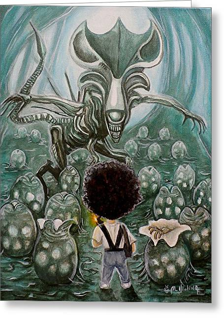 Cartoon Alien Greeting Cards - They mostly come out at Night Mostly Greeting Card by Al  Molina