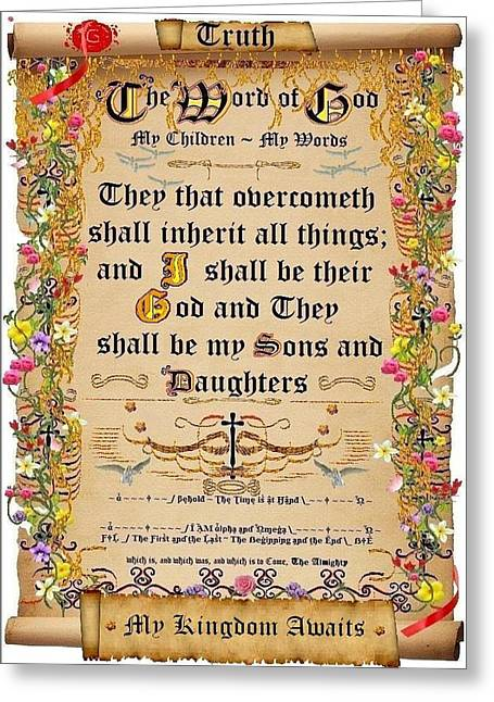Calligraphy Print Digital Art Greeting Cards - They that overcometh Greeting Card by Stephen Kovacs