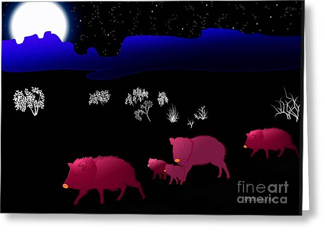 Art By Methune Hively Greeting Cards - They Walk By Night Greeting Card by Methune Hively