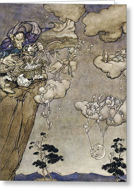 Nocturnal Paintings Greeting Cards - They Were Ruled by an Old Squaw Spirit Greeting Card by Arthur Rackham