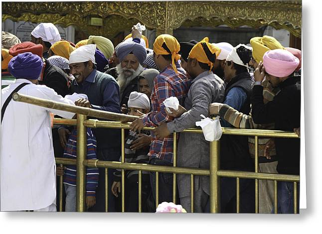 The Devotee Greeting Cards - Thick queue of devotees inside the Golden Temple in Amritsar Greeting Card by Ashish Agarwal