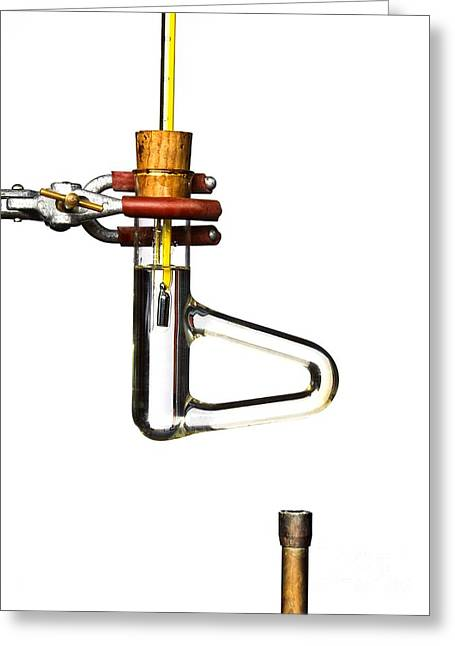 Oil Burner Greeting Cards - Thiele Tube, Melting Point Apparatus Greeting Card by Martyn F. Chillmaid