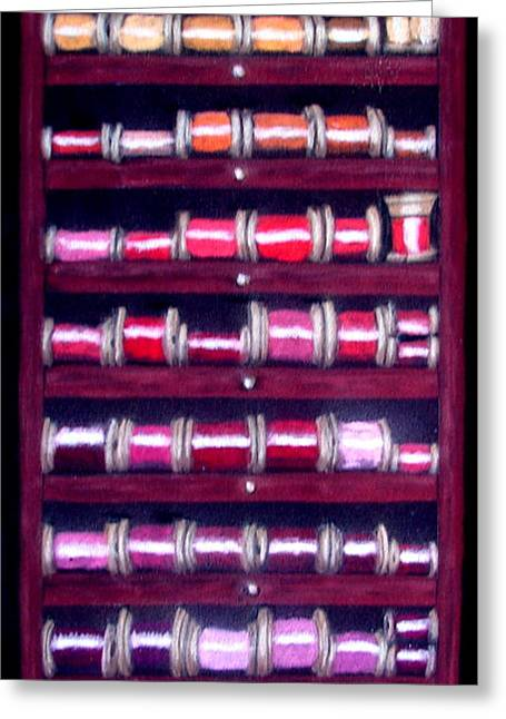 Photographs Pastels Greeting Cards - Thimbles In Cabinet Greeting Card by Joseph Hawkins