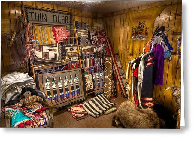 Native American Rug Greeting Cards - Thin Bear Trading Post Utah Greeting Card by Steve Gadomski