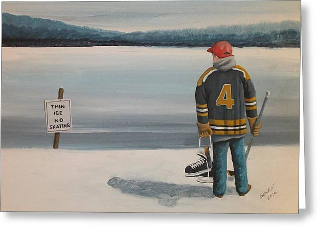 Youth Hockey Paintings Greeting Cards - Thin Ice -  Bobby Greeting Card by Ron  Genest