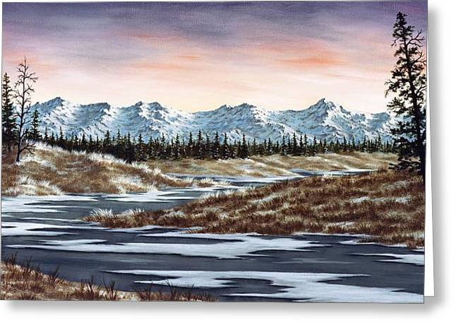 Snowscape Paintings Greeting Cards - Thin Ice Greeting Card by Rick Bainbridge